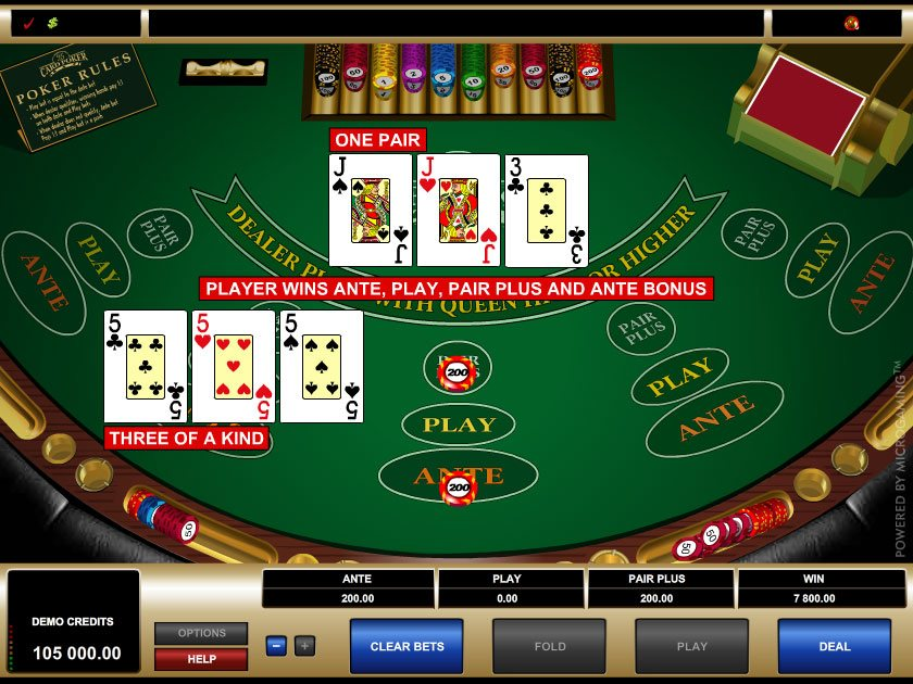 Card casino game poker three the rio casino in las vegas