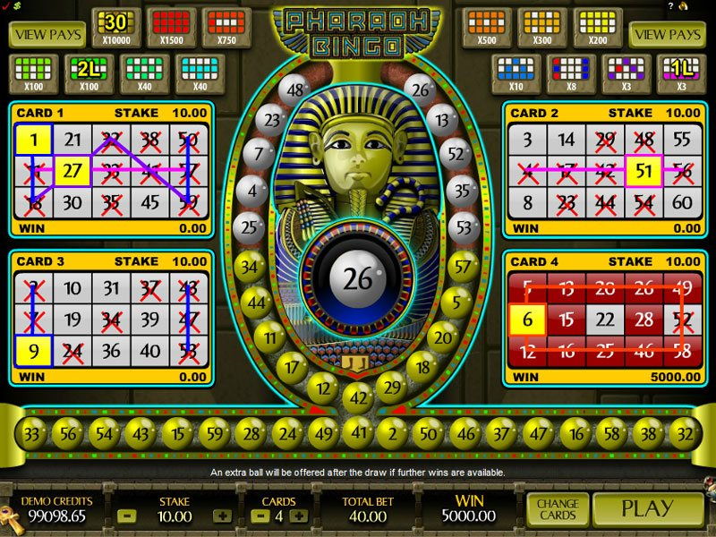 Pharaoh Bingo Arcade Game - Choose to Play for Free without Download or for Real Money at the Best MicroGaming Casinos