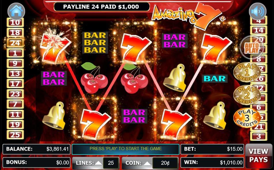 3233ba52fc8a89 Enjoy Amazing Sevens Video Slots Game by WGS in a Free Play Demo Mode  before place any wagers